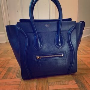 Celine Micro Luggage Tote in Navy